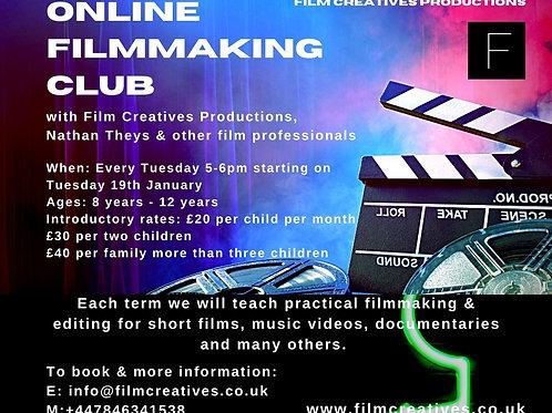 Online Film Club (8-12yrs)  £20 per month (minimum 2 months)