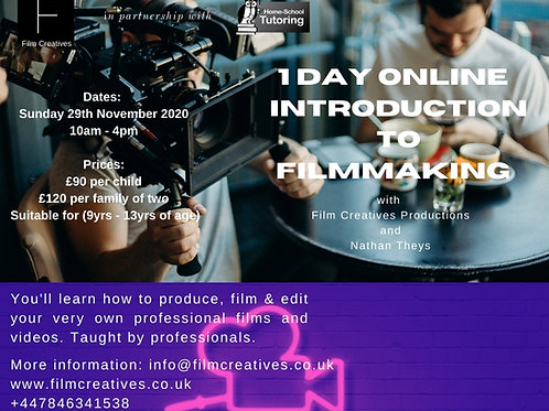1 Day Introduction to Filmmaking (9-13yrs)