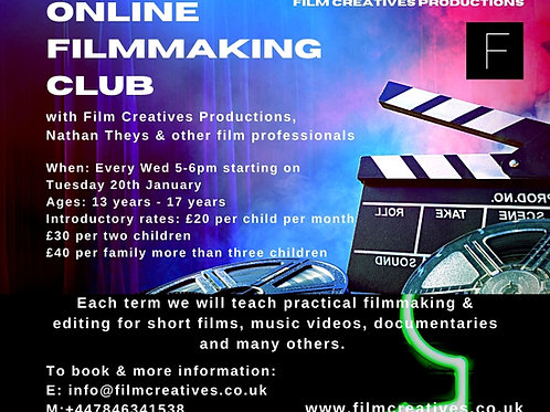 Online Film Club (12-17yrs) £20 per month (minimum 2 months)