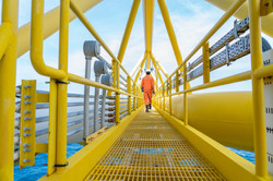 Production operator walking on offshore