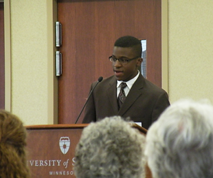 African American student speaking