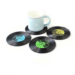 Lot de 4 sous bocks disques vinyles
