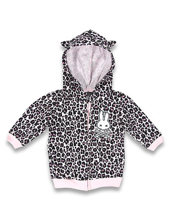 Veste zippée leopard rose SIX BUNNIES