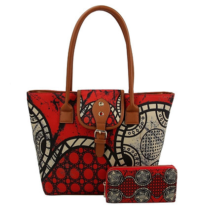 AfroChic Style Tote: Red