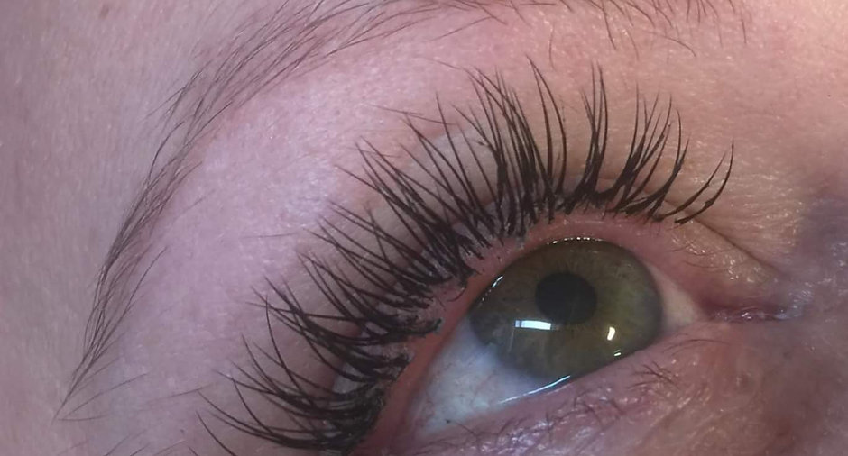 Close up of eyelash extension treatments