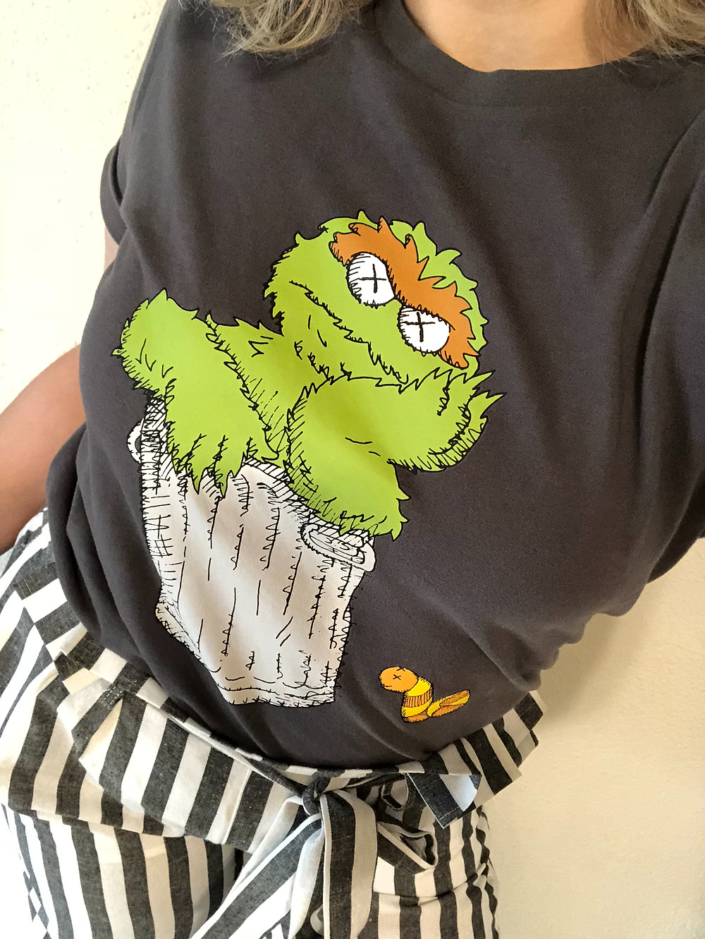 Oscar the Grouch sesame street laws and uniqlo collaboration with textured stripe paper bag waist pants