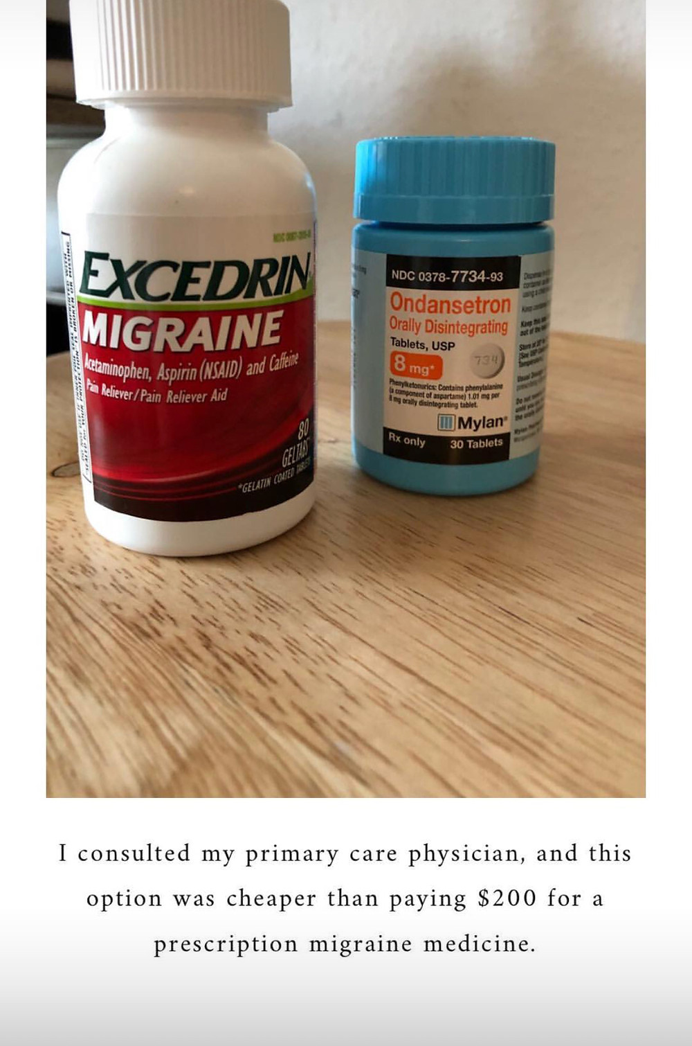 excedrin migraine and nausea pill
