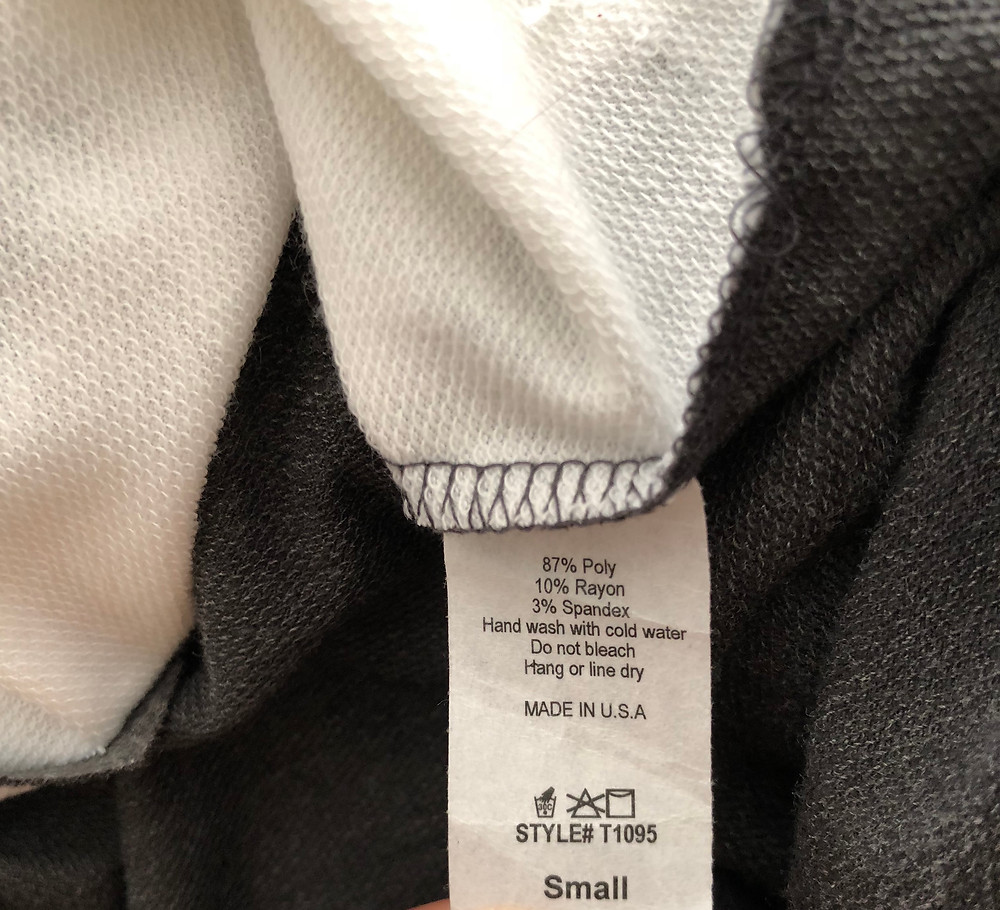 Care label tag on top