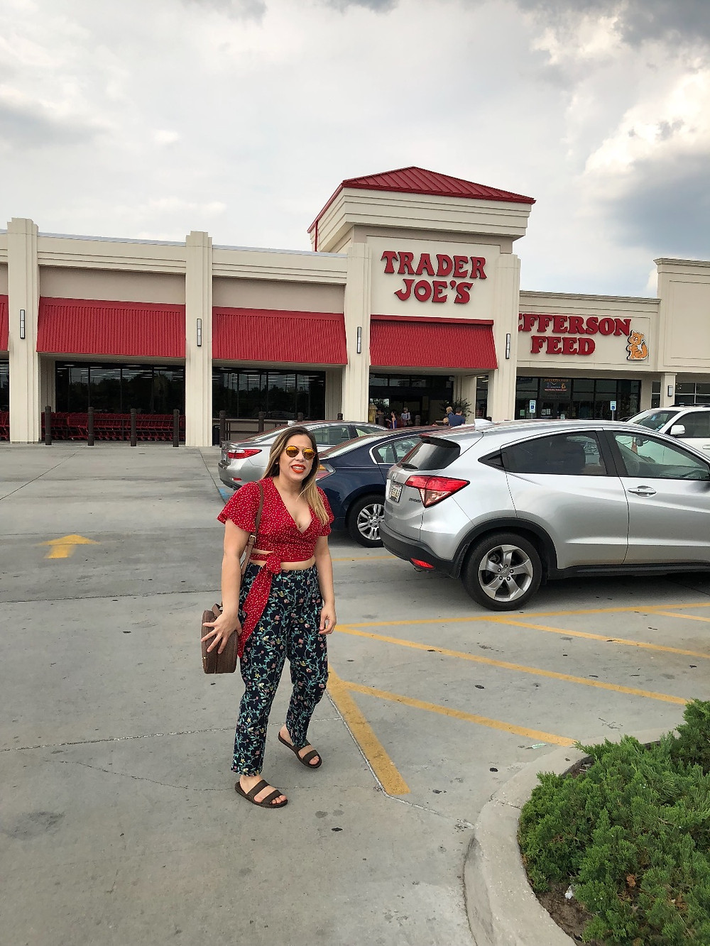 Polka dot red crop top featuring LOFT ankle floral pants at Trader Joes