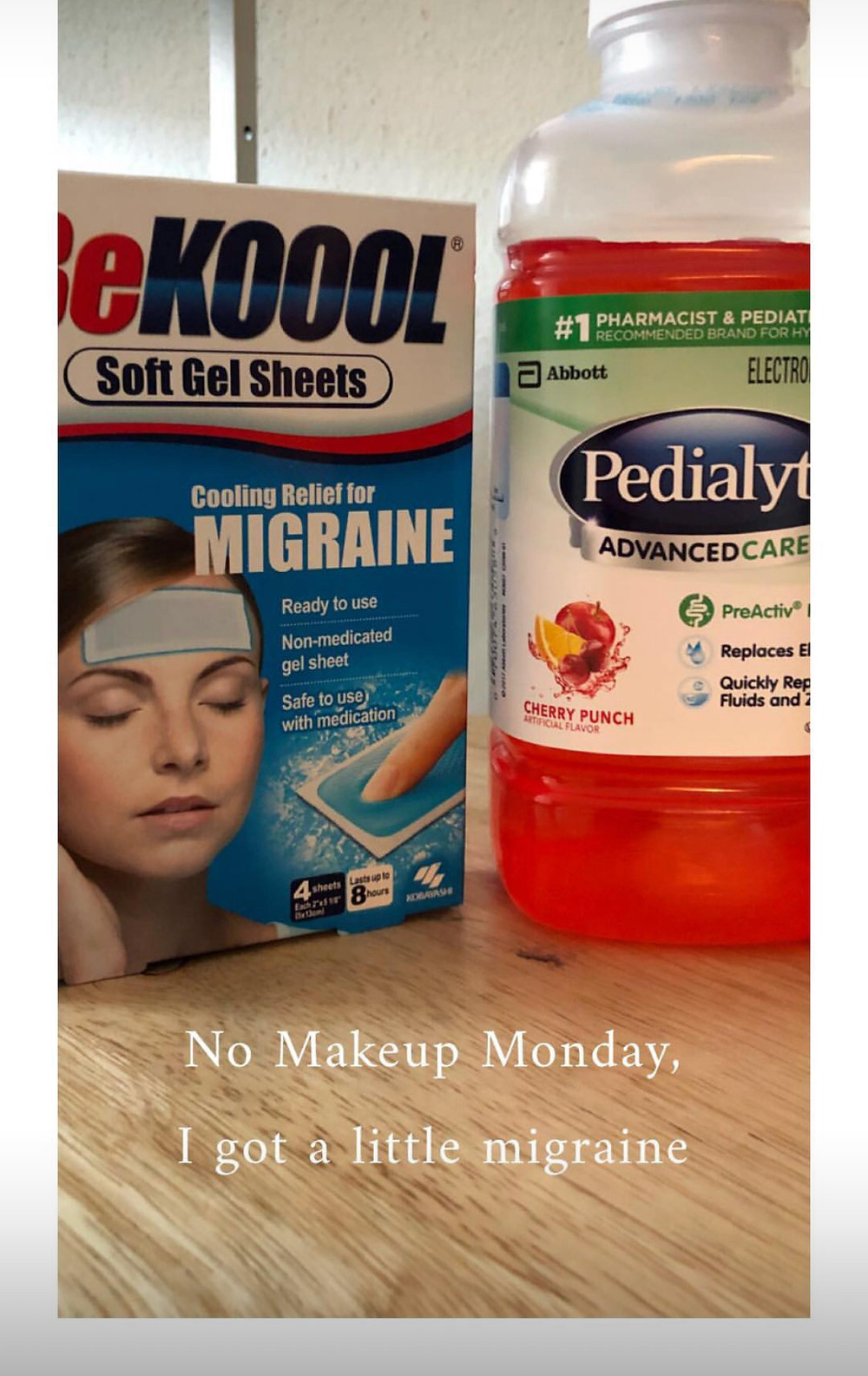 BeKool Migraine gel patches and pedialyte