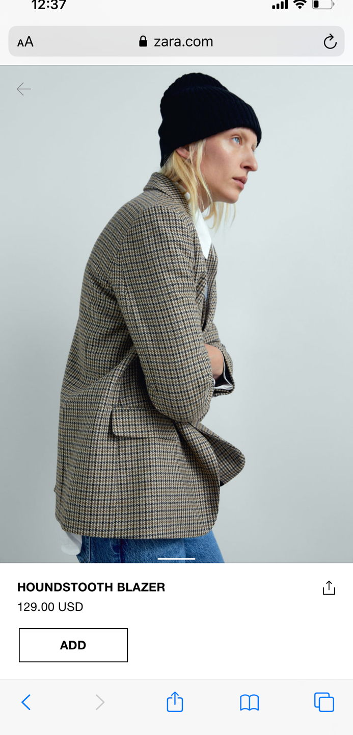 Gather up all your neutral from spring to build a monochromatic look with this houndstooth jacket.