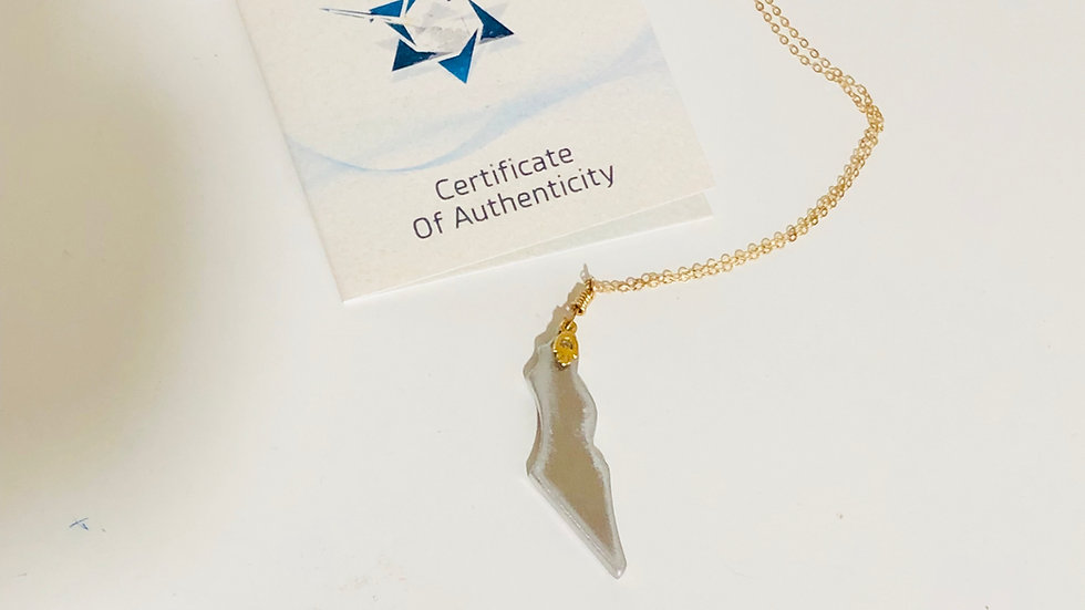 Map of Israel Necklace with Hamsa