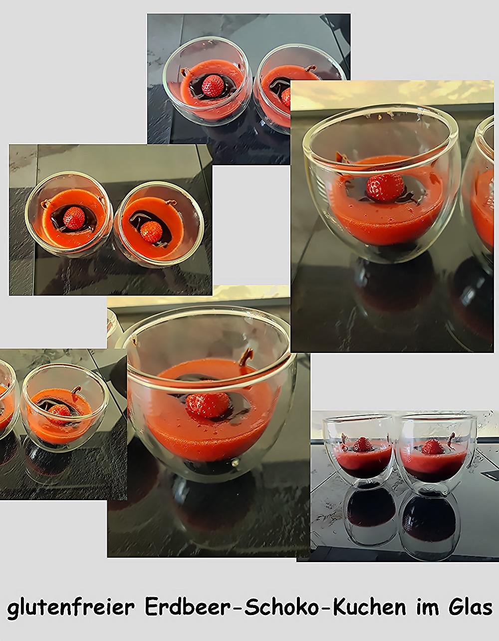 glutenfreier Kuchen im Glas aus Schokolade und Erdbeeren