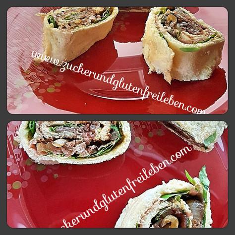 Pikante Roulade - glutenfrei, mit Schinken und karamellisierten Zwiebeln