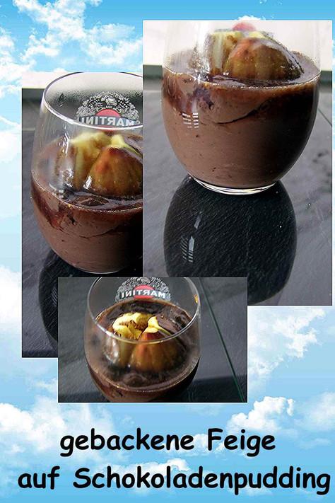 gebackene Feige auf Schokoladenpudding