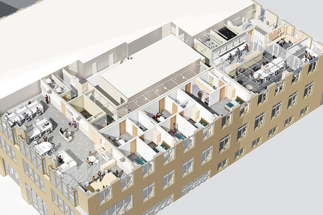A diagram of the Well Living Lab, a new research center adjacent to Mayo Clinic in Rochester, Minn., where researchers will study how indoor environmental factors affect people who live and work there. PHOTO: CENTERBROOK ARCHITECTS AND PLANNERS
