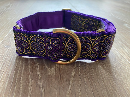 Whippet Purple & GoldRadiant Rings Martingale Collar