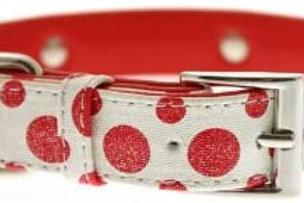 Red & White Polka Dot Glitter Silver Bone Collar
