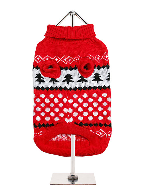 Red & White Snowball Sweater