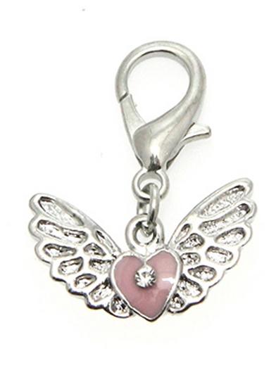 Angel Wings/Heart Collar Charm