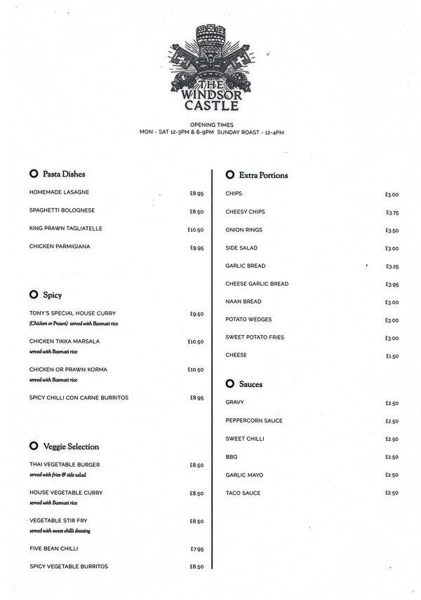 our menu page 1