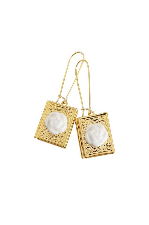 Porcelain Camellia Book Locket Earrings