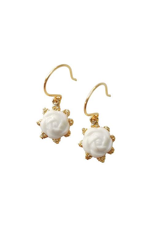 Mini Porcelain Camellia Flower Charm Earrings
