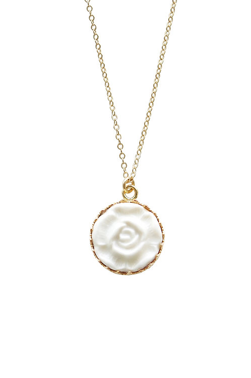 Porcelain Moonlight Rose Gold-Filled Pendant Necklace