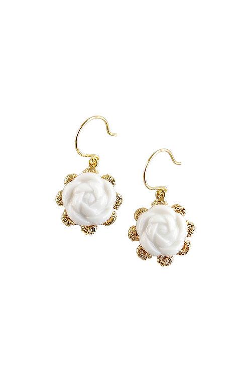 Everyday Porcelain Camellia Flower Charm Earrings