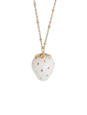 Golden White Porcelain Strawberry Necklace