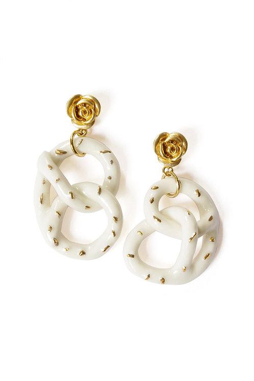 Golden Rose And Salted Porcelain Pretzel Earrings
