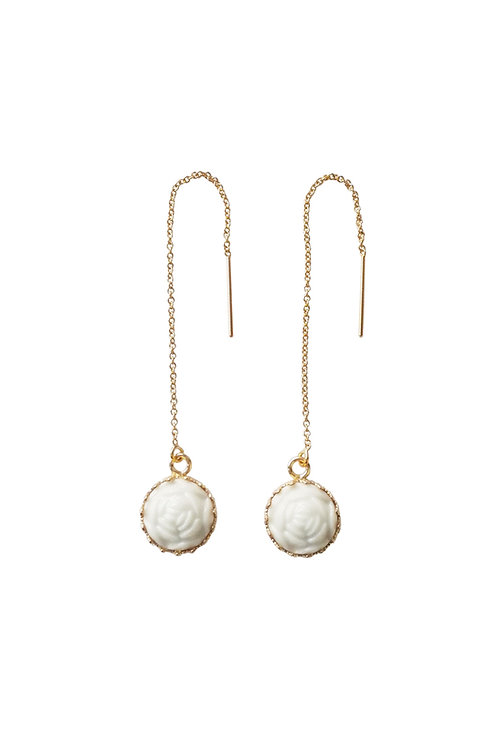Mini Porcelain Rose With Gold-Filled Chain Earrings