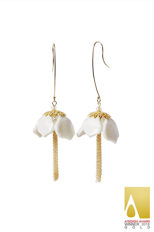 Porcelain Snowdrop Flower Tassel Earrings