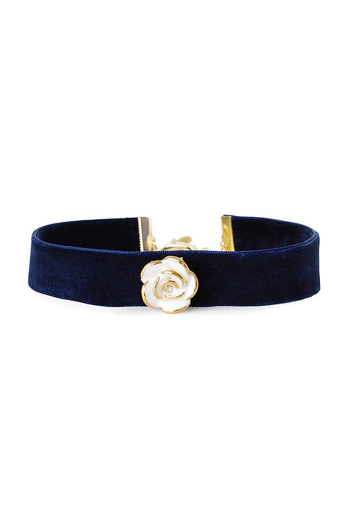 Golden White Cloud Rose Navy Velvet Choker