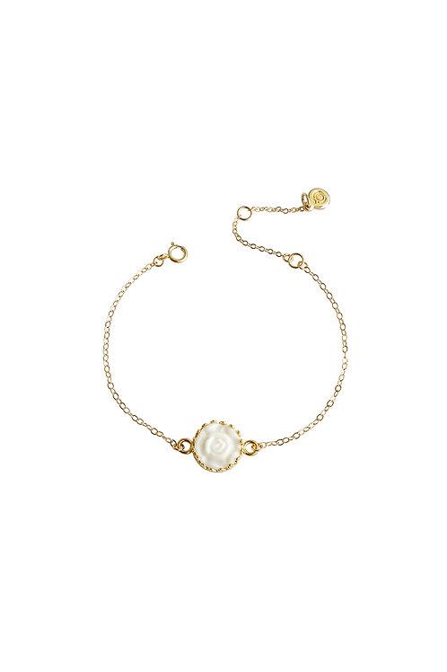 Porcelain Moonlight Rose Charm Bracelet