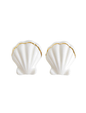 Porcelain Clam Shell Statement Stud Earrings