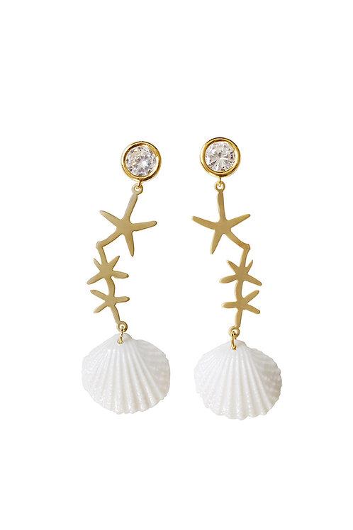 Crystal Star Porcelain Seashell Earrings