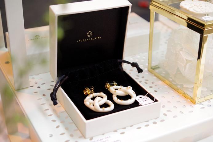 Golden Rose And Salted Pretzel Earrings