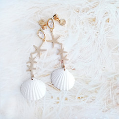 We all love seashell 🐚🐚🌠🌠 . 💛 Crystal Star Seashell Earrings 💛