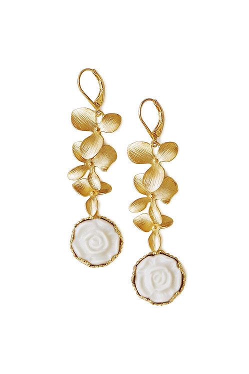 Porcelain Moonlight Rose And Triple Leaves Drop Earrings