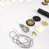 Hand sewing for Camellia golden leaves necklace. 🌿🌹 // 12 July 2017