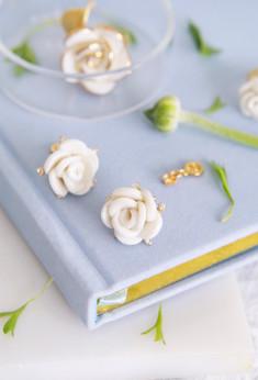 White Cloud Rose Stud Earrings