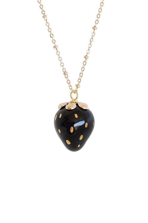 Golden Black Porcelain Strawberry Necklace