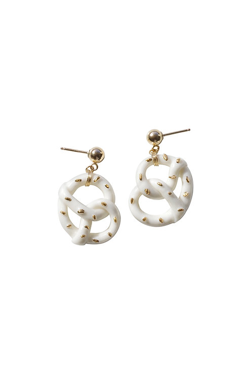 Mini Porcelain Pretzel Earrings