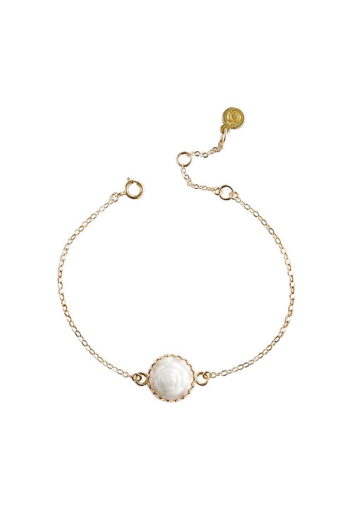 Mini Porcelain Rose Charm Gold-Filled Bracelet