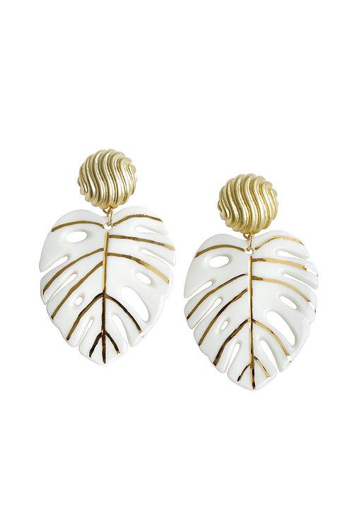 Golden Monstera Leaf Statement Earrings