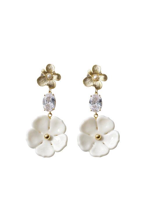 Crystal Floral Bloom Statement Earrings