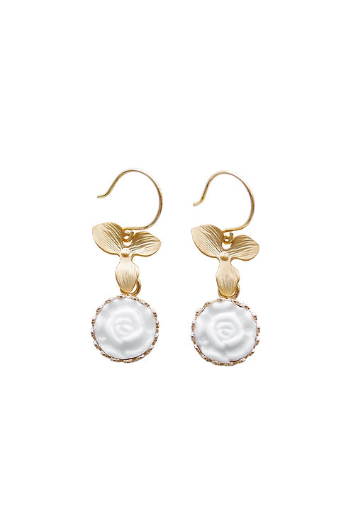 Mini Porcelain Moonlight Rose Drop Earrings