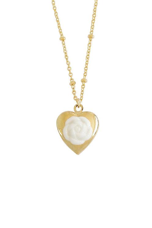 Mini Camellia Heart Locket Necklace
