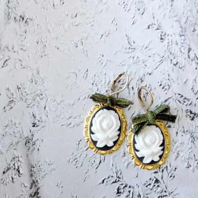 The day of 💛Dark Romance Rose Oval Porcelain Cameo Earrings💛 .